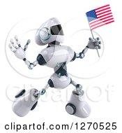 Clipart Of A 3d White And Blue Robot Jumping And Holding An American Flag Royalty Free Illustration