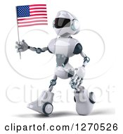 Clipart Of A 3d White And Blue Robot Walking To The Left And Holding An American Flag Royalty Free Illustration