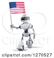Clipart Of A 3d White And Blue Robot Walking And Holding An American Flag Royalty Free Illustration