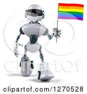 Clipart Of A 3d White And Blue Robot Walking And Holding A Rainbow LGBT Flag Royalty Free Illustration