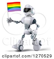 Clipart Of A 3d White And Blue Robot Walking To The Left And Holding A Rainbow LGBT Flag Royalty Free Illustration