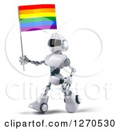 Clipart Of A 3d White And Blue Robot Walking To The Left With A Rainbow LGBT Flag Royalty Free Illustration
