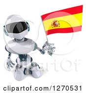 Clipart Of A 3d White And Blue Robot Holding Up A Spanish Flag Royalty Free Illustration