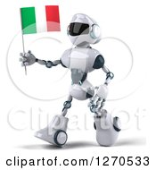 Clipart Of A 3d White And Blue Robot Walking To The Left And Holding An Italian Flag Royalty Free Illustration