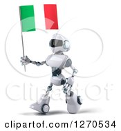 Clipart Of A 3d White And Blue Robot Walking To The Left With An Italian Flag Royalty Free Illustration