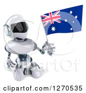 Clipart Of A 3d White And Blue Robot Holding Up And Looking At An Australian Flag Royalty Free Illustration