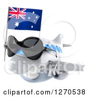 Clipart Of A 3d Happy White Airplane Wearing Sunglasses And Flying With An Australian Flag Royalty Free Illustration