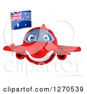 Clipart Of A 3d Happy Red Airplane Flying With An Australian Flag Royalty Free Illustration