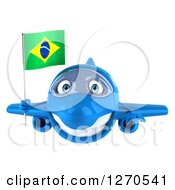 Clipart Of A 3d Happy Blue Airplane Flying With A Brazilian Flag Royalty Free Illustration