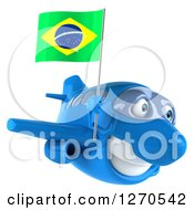 Clipart Of A 3d Happy Blue Airplane Flying To The Right With A Brazilian Flag Royalty Free Illustration