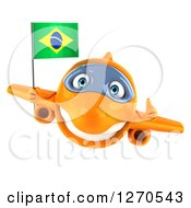 Clipart Of A 3d Happy Orange Airplane Giving A Thumb Up And Flying With A Brazilian Flag Royalty Free Illustration