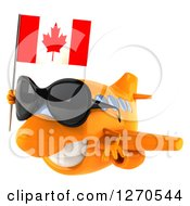 Clipart Of A 3d Happy Orange Airplane Wearing Sunglasses And Flying Left With A Canadian Flag Royalty Free Illustration