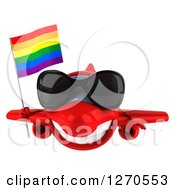 Clipart Of A 3d Happy Red Airplane Wearing Sunglasses And Flying With A LGBT Rainbow Flag Royalty Free Illustration