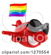 Clipart Of A 3d Happy Red Airplane Wearing Sunglasses And Flying To The Right With A LGBT Rainbow Flag Royalty Free Illustration