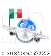 Clipart Of A 3d White Airplane Giving A Thumb Up And Flying With A Mexican Flag Royalty Free Illustration