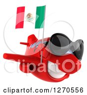 Clipart Of A 3d Red Airplane Wearing Sunglasses And Flying To The Right With A Mexican Flag Royalty Free Illustration