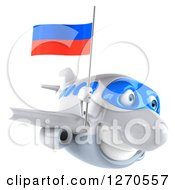 Clipart Of A 3d Happy White Airplane Flying To The Right With A Russian Flag Royalty Free Illustration