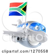 Clipart Of A 3d White Airplane Flying To The Right With A South African Flag Royalty Free Illustration