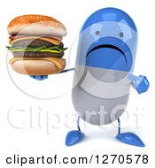 Clipart Of A 3d Unhappy Blue And White Pill Character Holding And Pointing To A Double Cheeseburger Royalty Free Illustration by Julos