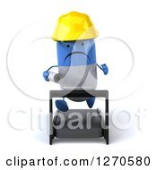 Clipart Of A 3d Unhappy Blue And White Pill Contractor Character Running With Blueprints On A Treadmill Royalty Free Illustration