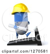 Clipart Of A 3d Unhappy Blue And White Pill Contractor Character Facing Right And Running With Blueprints On A Treadmill Royalty Free Illustration