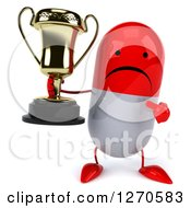 Clipart Of A 3d Unhappy Red And White Pill Character Holding And Pointing To A Trophy Royalty Free Illustration