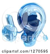 3d Blue Glass Ear Mascot Holding Up A Thumb