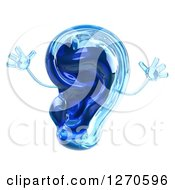 Clipart Of A 3d Blue Glass Ear Mascot Jumping Royalty Free Illustration