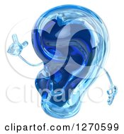 Clipart Of A 3d Blue Glass Ear Mascot Holding Up A Finger Royalty Free Illustration