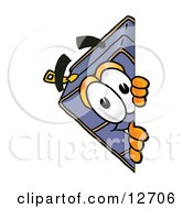 Clipart Picture Of A Suitcase Cartoon Character Peeking Around A Corner