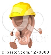 Clipart Of A 3d Ear Character Contractor Running In A Hardhat Royalty Free Illustration