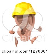 Clipart Of A 3d Ear Character Contractor Running In A Hardhat 2 Royalty Free Illustration