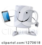 Clipart Of A 3d Happy Coffee Mug Holding A Smart Phone Royalty Free Illustration