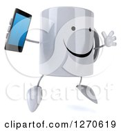 Clipart Of A 3d Happy Coffee Mug Facing Right And Jumping With A Smart Phone Royalty Free Illustration