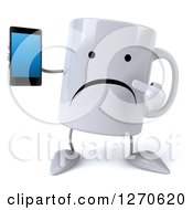 Clipart Of A 3d Unhappy Coffee Mug Holding And Pointing To A Smart Phone Royalty Free Illustration