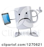 Clipart Of A 3d Unhappy Coffee Mug Holding Up A Finger And A Smart Phone Royalty Free Illustration