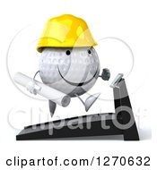 Clipart Of A 3d Happy Golf Ball Character Wearing A Hard Hat And Running On A Treadmill With Blueprints Royalty Free Illustration