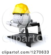 Clipart Of A 3d Happy Golf Ball Character Wearing A Hard Hat And Running On A Treadmill With Blueprints 2 Royalty Free Illustration