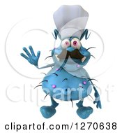 Clipart Of A 3d Blue Chef Germ Waving Royalty Free Illustration
