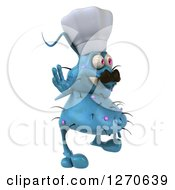 Clipart Of A 3d Blue Chef Germ Facing Right And Waving Royalty Free Illustration