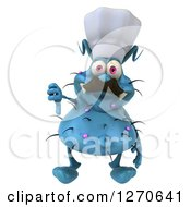 Clipart Of A 3d Blue Chef Germ Holding A Thumb Down Royalty Free Illustration
