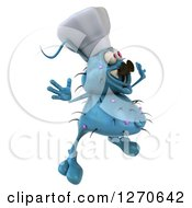 Clipart Of A 3d Blue Chef Germ Facing Right And Jumping Royalty Free Illustration
