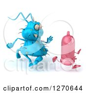 Clipart Of A 3d Blue Germ Chasing A Pink Condom Royalty Free Illustration