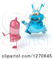Clipart Of A 3d Blue Germ Chasing A Pink Condom To The Left Royalty Free Illustration