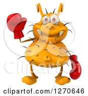 Clipart Of A 3d Boxing Yellow Germ Waving Royalty Free Illustration
