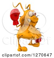 Clipart Of A 3d Boxing Yellow Germ Facing Right And Waving Royalty Free Illustration