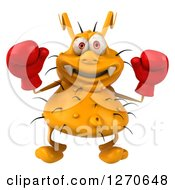 Clipart Of A 3d Boxing Yellow Germ Holding Up His Gloves Royalty Free Illustration