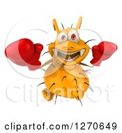 Clipart Of A 3d Boxing Yellow Germ Looking Upwards Royalty Free Illustration by Julos