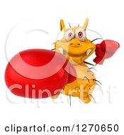 Clipart Of A 3d Boxing Yellow Germ Punching Upwards Royalty Free Illustration by Julos