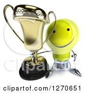 Clipart Of A 3d Happy Yellow Light Bulb Character Holding Up A Trophy Cup Royalty Free Illustration